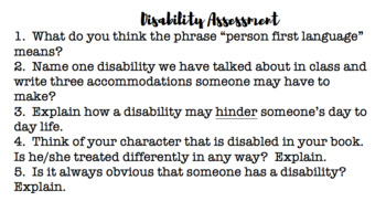 Disability Unit Assignment/Project/ Novel Study (Differentiated)