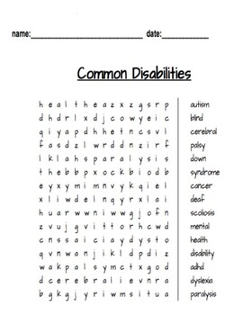 Disability Word Search Game