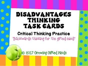 Disadvantages Critical Thinking Task Cards
