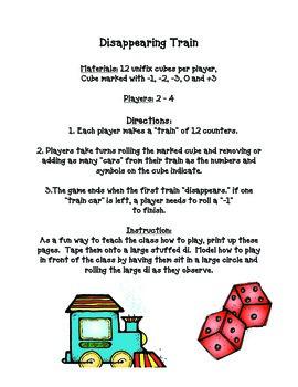 Disappearing Train Kindergarten Math Game