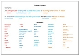 Disaster caption help sheet and word bank