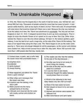 Catastrophic Events Reading Passages