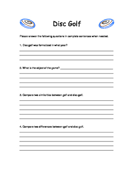 Disc Golf Handout and Worksheet