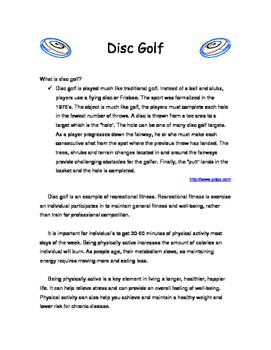 Disc Golf Handout and Worksheet