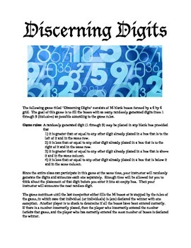 Discerning Digits - A math probability Game
