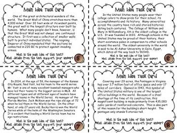 Discerning Main Idea Task Card Activity Pack