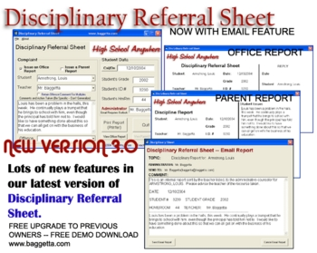 Disciplinary Referral Sheet Software for Windows PC