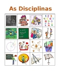Disciplinas (School subjects in Portuguese) Bingo game