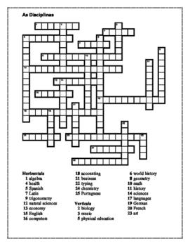 Disciplinas (School subjects in Portuguese) Crossword