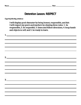 Discipline Assignment: Respect Sentences