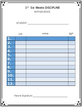 Discipline/Behavior Log Book