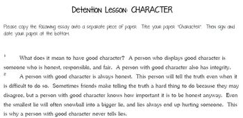 "Discipline: ""Character"" Essay and Sentences"