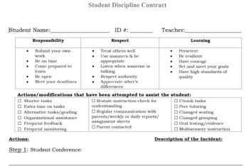 Student Discipline Procedures/Contract for Teachers, School Psychs, Principals!