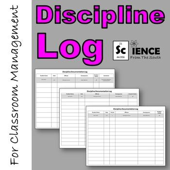 Discipline Documentation Behavior Log for Classroom Management