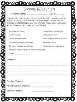 "Discipline Report Form AND ""My Choice Reflection"" Form"