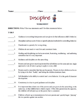 Discipline, Guidance, Punishment & Self-Discipline Lesson