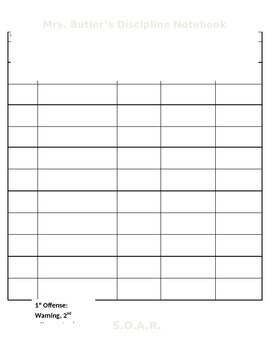 Discipline Notebook, Keep Track of Disciplinary Problems