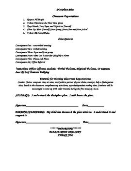 Discipline Plan Contract 3rd 4th 5th Grade