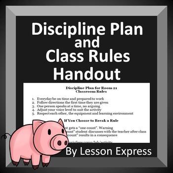 Discipline Plan and Class Rules Handout