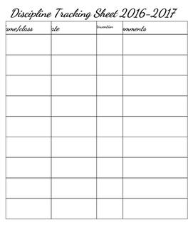 Discipline Tracking Sheet