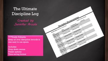Discipline and Behavior Log Sheet