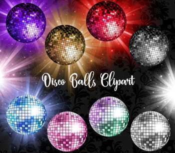Disco Balls Clipart, PNG dance party, diamond birthday celebration clip art