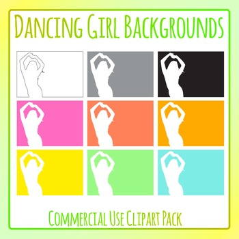 Disco Dancing Girl Backgrounds / Frames Clip Art Set for Commercial Use