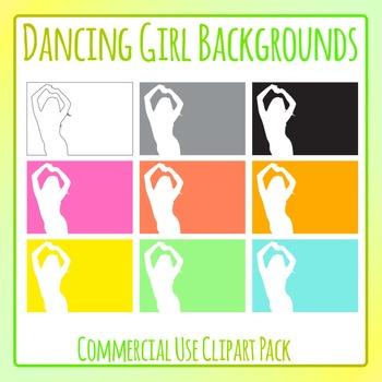 Disco Dancing Girl Backgrounds / Frames Clip Art Set for C