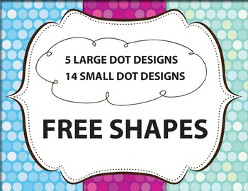 "Polka Dot Background / Digital Paper Clip Art ""Disco Lights"" plus 5 free borders"