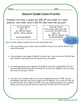 Discount Double Check-Activities for Middle School