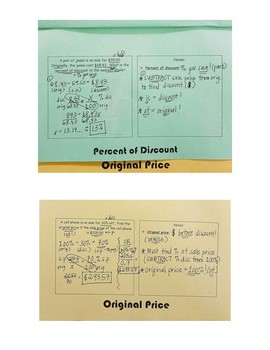 Discount Foldable: Finding Sales Price, Percent of Discount, & Original Price