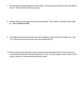 Discount, Markeup, Tax, Tip-Percent Word Problems
