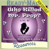 Discount, Markup, & Percent with Proportions Mystery Activity (Scavenger Hunt)