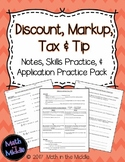 Discount, Markup, Tax, & Tip - Notes, Practice, and Application Pack