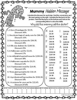 Discount Percent & Sale Price Halloween Math Puzzle