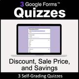Discount, Sale Price, Savings - 3 Google Forms Quizzes | D