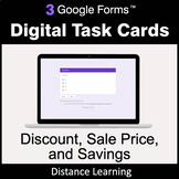 Discount, Sale Price, Savings - Google Forms Task Cards |