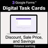 Discount, Sale Price, Savings - Google Forms Task Cards |
