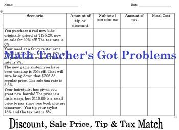 Discount, Sale Price, Tax & Tip Match-A Cut & Paste Activity-7RP3