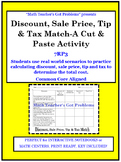 Discount, Sale Price, Tax & Tip Match-A Cut & Paste Activity-7RP3