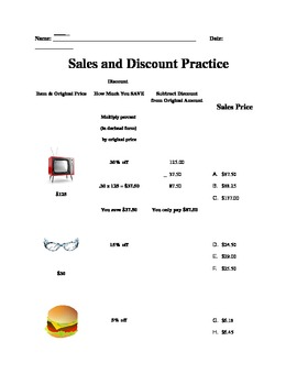 Discount Worksheet