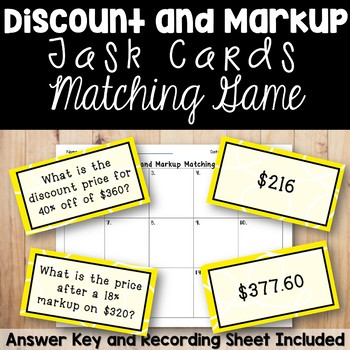 Discount and Markup Percents Task Card Matching Game