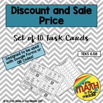 Discount and Sales Price Task Cards TEKS 6.5B