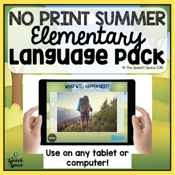 No Print Elementary Summer Language Pack   Teletherapy   Distance Learning
