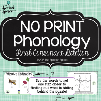 No Print Phonology: Final Consonant Deletion | Teletherapy | Distance Learning