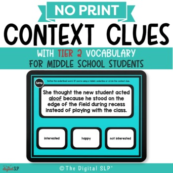 No Print Context Clues w/ Tier 2 Vocabulary for Middle School