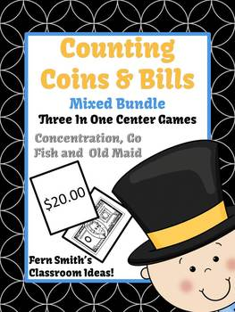 New Years Money Bills and Coins Center Games for Go Fish Old Maid Concentration