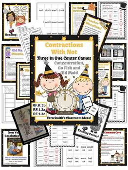 New Year's Themed Three Center Games for Contractions BUNDLE
