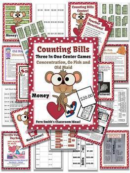 St Valentine's Day Money Center Games and Printables Coins and Bills Bundle
