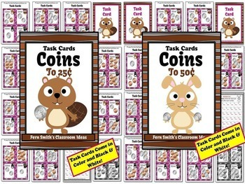 Money Task Cards for Coins BUNDLE with Recording Sheets Included